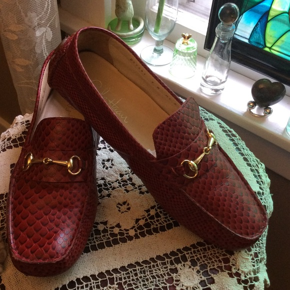 3768ca11240 Cole Haan Shoes - Cole Haan Red Snakeskin Leather Driving Moccasins
